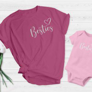 Mum and baby vest besties Pink