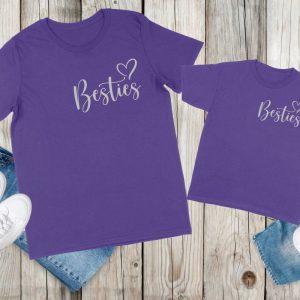 Mum and kid besties tshirt Purple