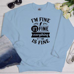 I'm fine sweater blue